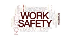 Work safety animated word cloud, text animation. Kinetic typography. Stock Footage