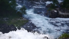Waterfall at mountain river in summer Norway Stock Footage