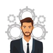 Man bearded suit business work team gear Stock Illustration