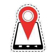 Smartphone location pin map gps cut line Stock Illustration