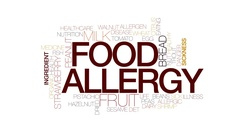 Food allergy animated word cloud, text animation. Kinetic typography. Stock Footage