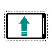 Mobile phone upload arrow gadget cut line Stock Illustration