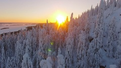 Aerial nordic winter landscape flight over snow mountain forest on sunset. Stock Footage
