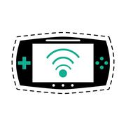 Game console portable play device dot line Stock Illustration