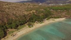 Aerial Hanauma Bay Oahu Hawaii Stock Footage