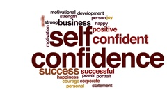 Self confidence animated word cloud, text design animation. Stock Footage
