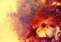 Abstract multicolor flower motive collage with black effect in space Stock Illustration
