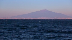 The sea and the view of Mount Vesuvius Stock Footage