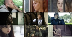 Multiscreen of young people sad and tormented Stock Footage