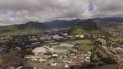 Aerial Stan Sheriff Center University of Hawaii at Manoa Stock Footage