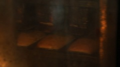 Baking bread in an electric furnace Stock Footage