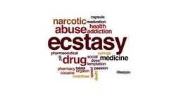Ecstasy animated word cloud, text design animation. Stock Footage