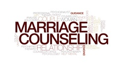 Marriage counseling animated word cloud, text animation. Kinetic typography. Stock Footage
