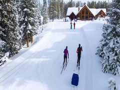 Two Cross Country skiers return to the Lodge Stock Footage