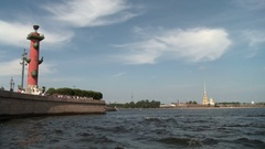 Petersburg. Spit of Vasilyevsky Island. View of the Peter and Paul Fortress Stock Footage