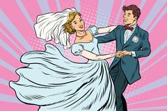 Wedding dance bride and groom Stock Illustration