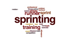 Sprinting animated word cloud, text design animation. Stock Footage