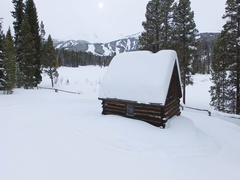 Snowy Log Cabin Stock Footage