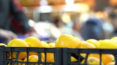 Oranges in the grocery store Stock Footage