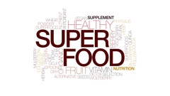 Superfood animated word cloud, text design animation. Kinetic typography. Stock Footage
