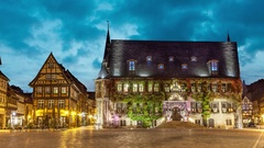 City Hall of Quedlinburg on Markt square Stock Footage