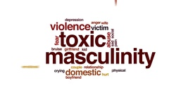 Toxic masculinity therapy animated word cloud, text design animation. Stock Footage