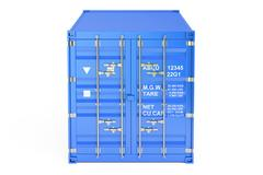 Blue cargo container, front view. 3D rendering Stock Illustration