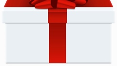 Animation red bow with white gift box Stock Footage