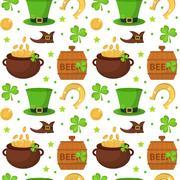 St. Patricks Day seamless pattern. Endless background texture. Vector illus.. Stock Illustration
