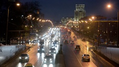 MOSCOW, RUSSIA -: Sadovoe ring evening road traffic. Stock Footage