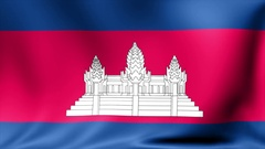 Cambodia Flag. Background Seamless Looping Animation. 4K High Definition Video Stock Footage