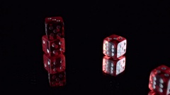 4k Poker Composition Dices on Black background Stock Footage