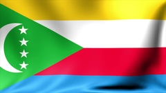 Comoros Flag. Background Seamless Looping Animation. 4K High Definition Video Stock Footage