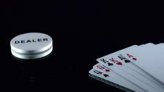 4k Poker Composition of Cards and Dealer Chip Stock Footage
