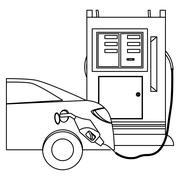Silhouette gas station filling up fuel a car Stock Illustration