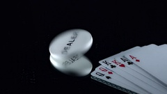 4k Poker Composition of Cards and Dealer Chip Spinning  Stock Footage