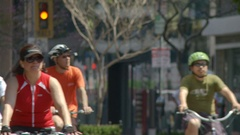 Bicyclists Approach, Long Lens Stock Footage