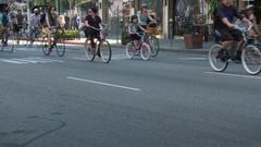 Bicyclists, Streetside Stock Footage