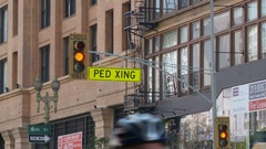 """""""PED XING"""" at Los Angeles CicLAvia Stock Footage"""