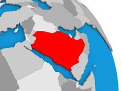 Saudi Arabia on globe Stock Illustration