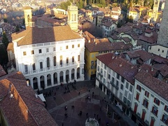 Time Lapse Bergamo Landscape on the old main square  the public library Stock Footage