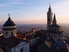 Time Lapse Bergamo - Evening sunset on the old city, Cathedral Stock Footage