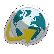 Planet earth with surrounding arrow international icon image Stock Illustration