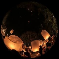 Loi krathong festival timelapse on fisheye lens Stock Footage