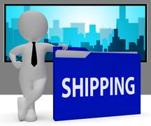 Shipping Folder Indicating Delivering Freight 3d Rendering Stock Illustration