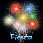 Fiesta Fireworks Means Carnival Pyrotechnics Exploding Firecrackers Stock Illustration