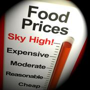 Food Prices High Monitor Showing Expensive Grocery 3d Rendering Stock Illustration