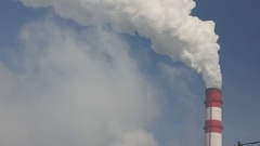 Industrial air pollution. Smoke from chimney. Copyspace. Stock Footage