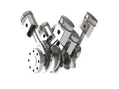 V6 engine pistons. 3D illustration Stock Footage