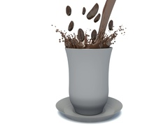 Splash of coffee with coffee beans. 3d illustration Stock Footage
